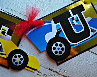 Indy Race Car Happy Birthday Banner...Set of 1 Happy Birthday Banner