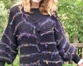 BASIA DESIGNS Black and multicolor Leaf Edged Sweater Jacket