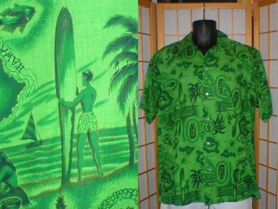 50s 60s green surfer and Hawaiian island print shirt mens size large