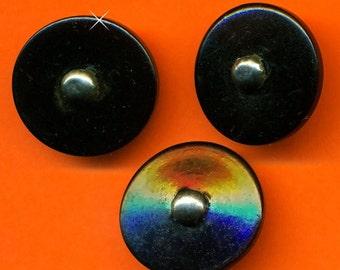 Vintage 7 Black Celluoid Silver Stud Top Fancy Art Deco 20.83mm Buttons N7R 2