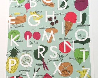 Baby Nursery Kitchen Decor Art Print Alphabet Foodie Print