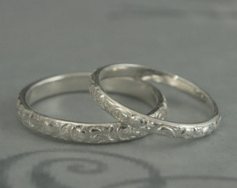 Rococo Sterling Silver Wedding Band Set--His and Hers Wedding Ring Set--Embossed Swirl Pattern Bands in Sterling Silver--Hand Made to Size