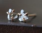 Natural Rose Cut Diamond Slice Stud Earrings