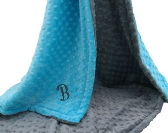 Aqua Turquoise and Gray Minky Dot Baby Blanket Can Be Personalized