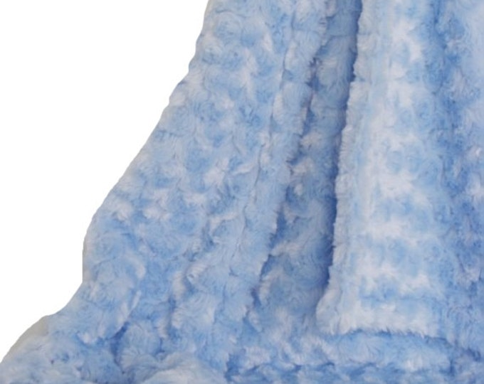 Blue Plush Rose Swirl Minky Blanket, Luxe Baby Blanket, three sizes Can Be Personalized