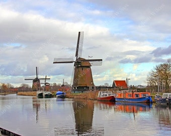 Windmills of Alkmaar Holland Netherlands Dutch Countryside Fine Art Photography Photo Print
