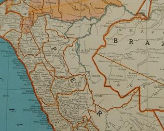"1940 Peru, Ecuador Map, Colombia South America, vintage 11"" x 14"" atlas map, old maps as wall art, decor"
