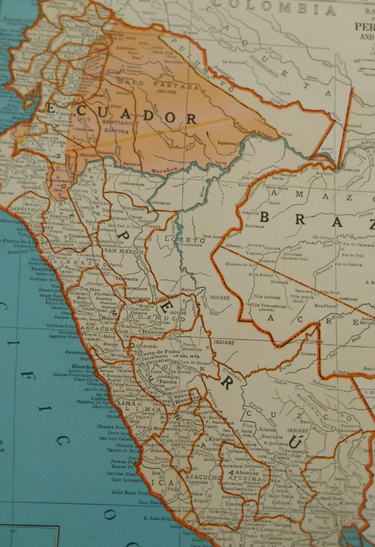 Peru Ecuador Map Colombia South America Vintage - Map of ecuador south america