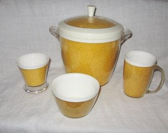 Vintage Thermal Burlap Ice Bucket Drinking Mug Dessert Dish and Bowl