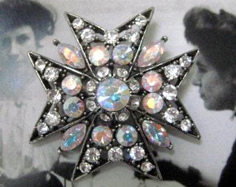 OPALESCENT JEWEL BROOCH, vintage brooch, rhinestone brooch, Mother's Day, star burst, rhinestones, opalescent rhinestones, gift for her