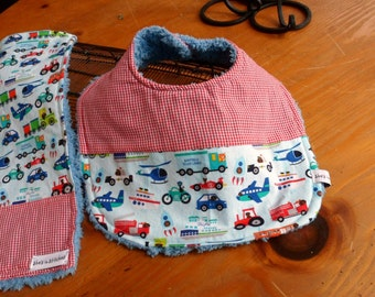 Bib and burp cloth set for baby Boy!