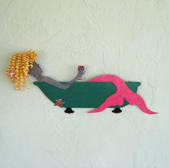 Metal Wall Art Mermaid Sculpture  Bathtub Wine Blonde Reclaimed Coastal Bathroom Beach House Decor Teal Green Pink 8 x20