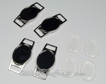 Gunmetal 18 x 25mm Oval Shoe Lace Charms (07-46-926), Shoelace Charm Kit with Epoxy domes, 40 or 50 kits.