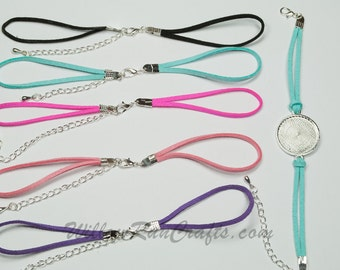 10 Colored Suede Bracelets to use with Double Connector Bezel Trays  Mix of colors, You pick your colors