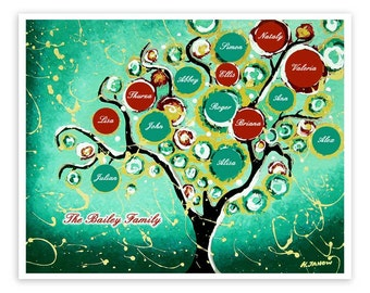 Personalized Gift, Custom Family Tree of Life Art Print Wall Decor, Custom Family Names, Turquoise Art, Signed Print