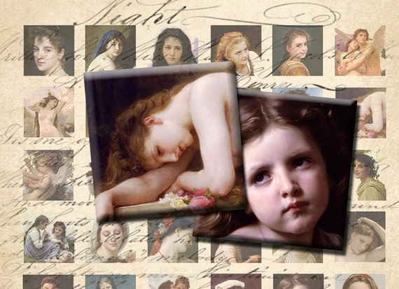 INSTANT DOWNLOAD Digital Collage Sheet Bouguereau Paintings Images 1 inch squares - DigitalPerfection digital collage sheet 288