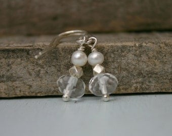 Clear Quartz, Freshwater Pearl and Sterling Silver Earrings