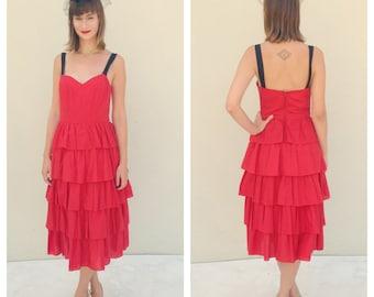 Vintage Dress Skeeter Davis Dress Red Dress Ruffled Dress Prom Dress Homecoming Dress Evening Gown Pin Up Dress 1960s Dress