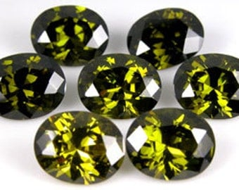 10x8mm Oval Faceted ~ Olive Green CZ 's ~ Cubic Zirconias  ~ Cubic Zirconia ~  FDK