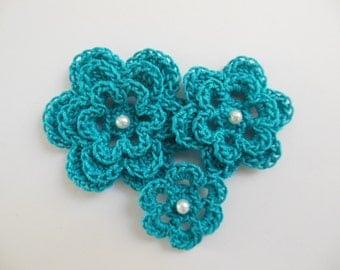 Crocheted Flowers - Peacock Blue With a Pearl - Cotton Flowers - Crocheted Flower Appliques - Crocheted Flower Embellishments
