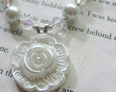 Pretty as a Button - Set of Necklace and Earrings, Made in White and Silver