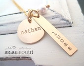 Personalized Hand Stamped Jewelry - Personalized Necklace - Brag About It - Mixed Brags With Pearl