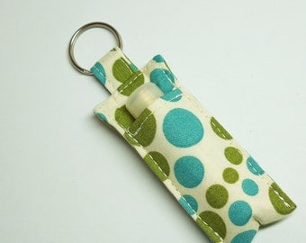 Chap stick Holder, Lip Balm key chain, chap stick case, lip stick, Lipbalm case cozy-Sage Blue Dots