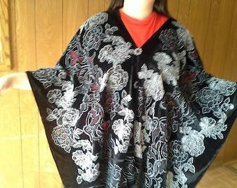 Velvet/Silk Poncho - One Poncho Wear It Two Ways