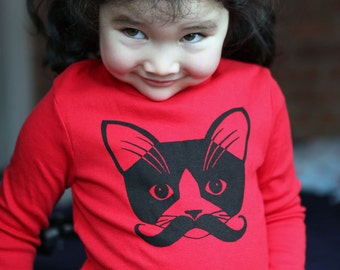 Red Mustache Kitty Kids Long Sleeve Tee T-shirt Size 2
