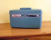 Vintage Train Case 1960's - Sear's Courier - Blue - Travel - Makeup Case - Camera Case