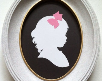 FRAMED Custom Silhouette Portrait: 5x7, White Silhouette, Black Background, with Color Embellishment