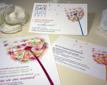 SAMPLE Blowing Dandelion Pocketfold Wedding Invitation