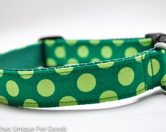 Green Polka Dot Dog Collar/Lime Green Dot/Custom Dog Collar