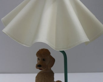 Kitschy Vintage POODLE Lamp with molded plastic shade Shabby Rustic Unique It works!
