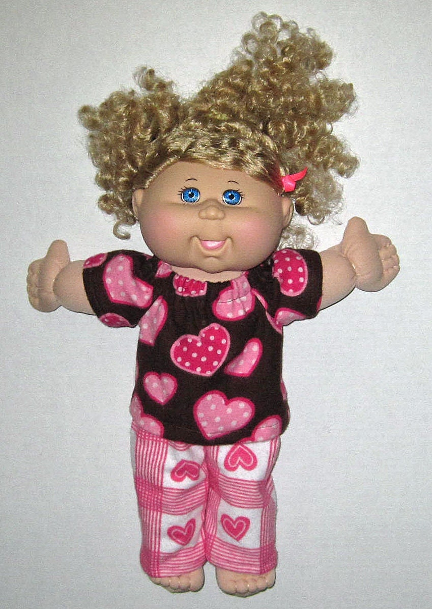 cabbage patch doll clothes pink hearts and chocolate brown