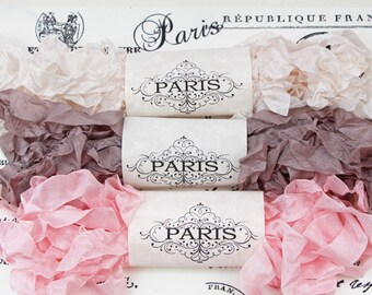 Shabby Crinkled Seam Binding Ribbon, Pink, Taupe,Rayon Ribbon, French Vintage,Scrapbooking,Teddy Bear Making, Crazy Quilting,Villa de France