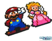 Nintendo Super Mario and Princess Peach Perler Bead Sprite Figures