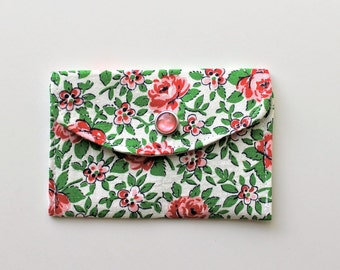 Women's Wallet - Fabric Credit Card Holder - Vintage Rose