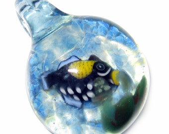 Triggerfish In Blue Frit Ocean - Handblown Boro Glass Millifiori Pendant