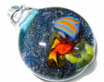 Millifiori Fish Swimming In Sparkling Water - Handblown Boro Glass Pendant