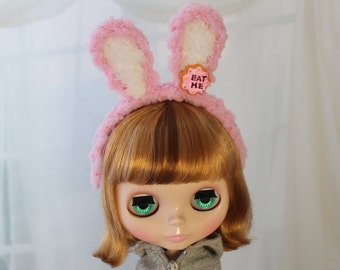 Pink Bunny Ears Headband for SD BJD, Blythe Dolls, 1/3 Lolita Rabbit Ears