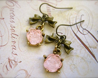 Earrings. Tea Rose Earrings. Brass Bow Earrings. Pale Pink Flower Earrings. Pink Dangle Earrings. Bows and Roses Brass Charm Earrings.