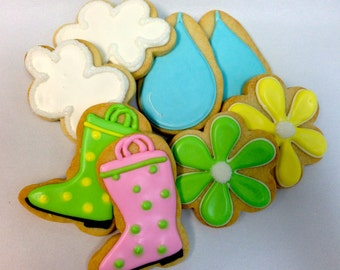 APRIL SHOWERS Decorated Sugar Cookies, 1 Dozen