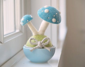 Toadstool Pot Plant, Robin's Egg Blue Nursery Baby Decor, Needle Felted, Rustic