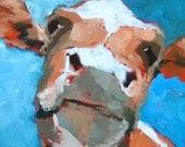 "Eddie the Cow Original Oil Painting Cow Fine art Print 8"" x 10"""