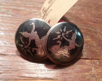 vintage Antique Round screw back  Siam sterling silver earrings
