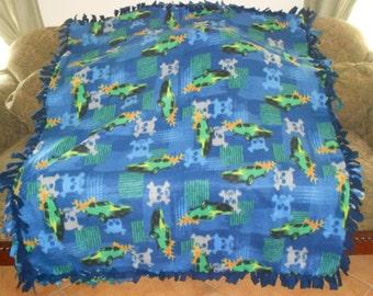 Skulls Race Cars on Blue Pattern Navy Blue Back Fleece Tie Blanket No Sew Fleece Blanket 60x72 approximate size