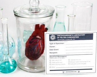 Felted Anatomical Heart (XS) with Apothecary Jar & Personalized Specimen Label