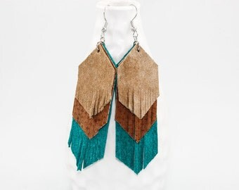 Leather Fringe Earrings - Suede Chevron Layers (Tan / Camel / Turquoise) Boho Chic Gifts for Her
