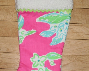 Christmas stocking made with Lilly Pulitzer Pink Lemonade fabric